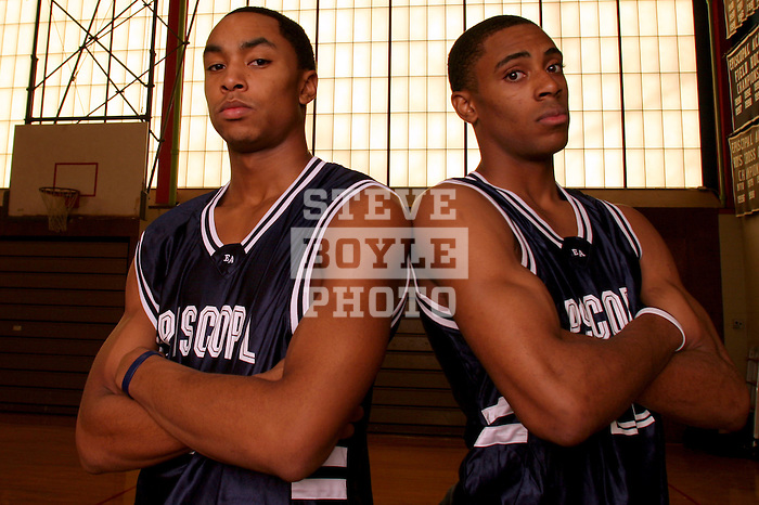 Episcopal Academy basketball players Wayne Ellington (22) and Gerald Henderson (43) are headed to college in the fall of 2006.  The two will be rivals as Ellington will attend North Carolina and Henderson will play for Duke.  April 11, 2006.