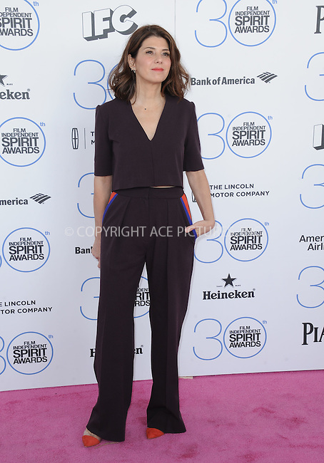 WWW.ACEPIXS.COM<br /> <br /> February 21 2015, LA<br /> <br /> Marisa Tomei arriving at the 2015 Film Independent Spirit Awards at Santa Monica Beach on February 21, 2015 in Santa Monica, California.<br /> <br /> By Line: Peter West/ACE Pictures<br /> <br /> <br /> ACE Pictures, Inc.<br /> tel: 646 769 0430<br /> Email: info@acepixs.com<br /> www.acepixs.com