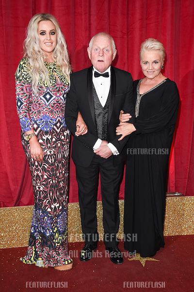 Rebecca Chittell, Chris Chittell &amp; Lesley Dunlop at the British Soap Awards 2016 at the Hackney Empire, London.<br /> May 28, 2016  London, UK<br /> Picture: Steve Vas / Featureflash