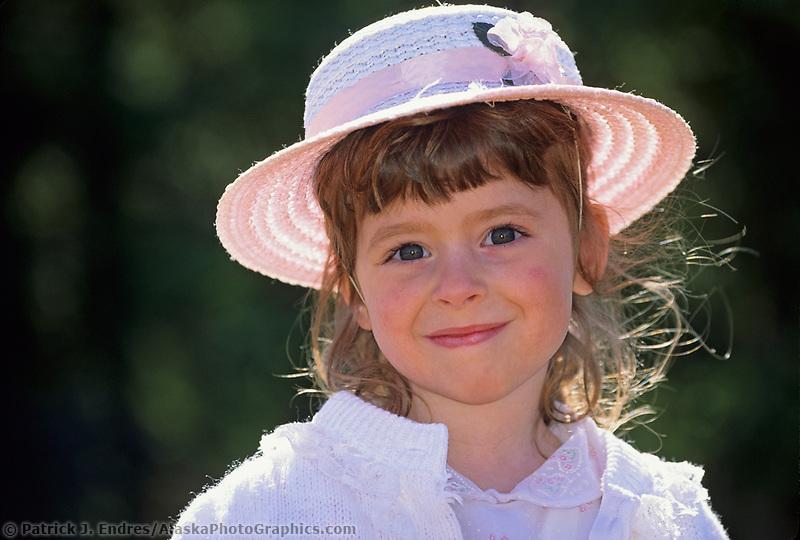 Young girl in Easter bonnet, Delta Junction, Alaska
