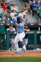 Buffalo Bisons Santiago Espinal (2) bats during an International League game against the Pawtucket Red Sox on August 25, 2019 at Sahlen Field in Buffalo, New York.  Buffalo defeated Pawtucket 5-4 in 11 innings.  (Mike Janes/Four Seam Images)