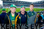 David Cronin, Dessie Cronin and Daniel Cronin (Ballinskelligs), pictured at the Kerry v Mayo all Ireland semi-final in Croke Park, on Sunday last.