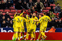 Ukraine celebrate the equalising goal during the International Euro U21 Qualification match between England U21 and Ukraine U21 at Bramall Lane, Sheffield, England on 27 March 2018. Photo by Stephen Buckley / PRiME Media Images.