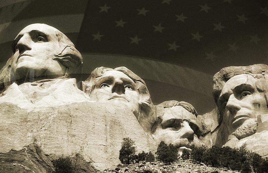 USA, South Dakota, Mount Rushmore National Monument and Stars & Stripes flag (Composite)