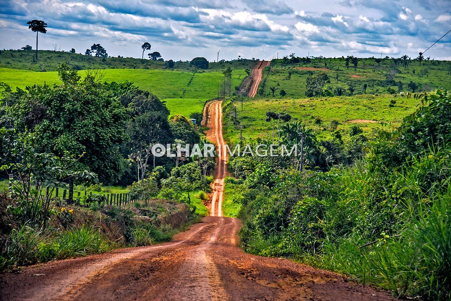 Estrada de terra em area rural, desmatamento para fazendas de gado e pasto, travessao vicinal da Rodovia Transamazonica BR 230, Vitoria do Xingu. Para. 2017. Foto Luciana Whitaker