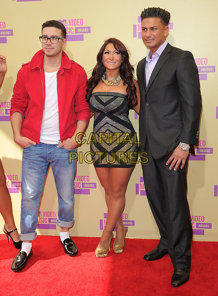 """Vinny Guadagnino, Deena Nicole Cortese & Paul DelVecchio (aka. """"DJ Pauly D"""") of Jersey Shore.Arrivals at The 2012 MTV Video Music Awards held at Staples Center in Los Angeles, California, USA..September 6th, 2012.VMA's VMAS VMA full length red jacket glasses white top jeans denim black gold dress suit                                                     .CAP/DVS.©DVS/Capital Pictures."""