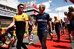 Spanish F1 Grand Prix Pirelli 2017.<br /> Jolyon Palmer(Renault) &amp; Romain Grossjean (Haas).