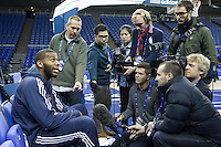 16.01.2013 London, England. Detroit Pistons centre Greg Monroe (10) talks to the media during team practice ahead of the NBA London Live 2013 game between the Detroit Pistons and the New York Knicks from The O2 Arena