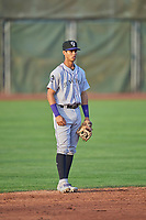 Ezequiel Tovar (31) shortstop of the Grand Junction Rockies on defense against the Ogden Raptors at Lindquist Field on August 28, 2019 in Ogden, Utah. The Rockies defeated the Raptors 8-5. (Stephen Smith/Four Seam Images)