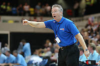 orders from the sideline Joe Prunty Great Britain Head Coach during the EuroBasket 2015 2nd Qualifying Round Great Britain v Bosnia & Herzegovina (Euro Basket 2nd Qualifying Round) at Copper Box Arena in London. - 13/08/2014