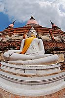 White Buddha, Wat Yai Chaya Mongkol or The Great Temple of Auspicious Victory, Ayutthaya, Thailand