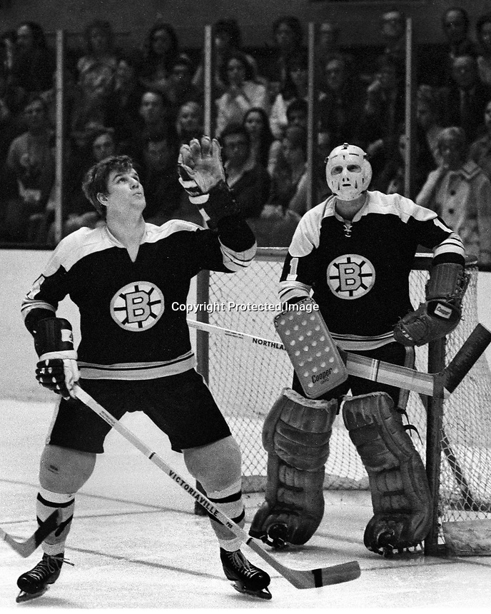 Seals vs Boston: Bobby Orr reaches for puck in front of his goalie Ed Johnston. (1971 photo/Ron Riesterer)