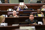 Nevada Assemblywoman Jill Dickman, R-Las Vegas, takes a picture of the big screen on the Assembly floor at the Legislative Building in Carson City, Nev., on Sunday, May 31, 2015.  <br /> Photo by Cathleen Allison