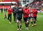 Jack O'Connell of Sheffield Utd and Enda Stevens of Sheffield Utd applaud the fans during the championship match at the Bramall Lane Stadium, Sheffield. Picture date 28th April 2018. Picture credit should read: Simon Bellis/Sportimage