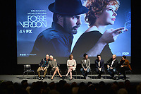 """NEW YORK - APRIL 7: (L-R) Sam Rockwell, Michelle Williams, Nicole Fosse, Thomas Kail, Steve Levenson, Joel Fields and Lin-Manuel Miranda attend a Q&A after the screening of FX's """"Fosse Verdon"""" presented by FX Networks, Fox 21 Television Studios, and FX Productions at the Museum of Modern Art on April 7, 2019 in New York City. (Photo by Anthony Behar/FX/PictureGroup)"""