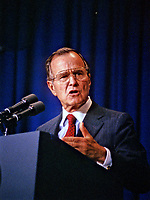 ***FILE PHOTO*** George H.W. Bush Has Passed Away<br /> United States President George H.W. Bush speaks to interns at the Library of Congress in Washington, D.C. on June 29, 1989.<br /> CAP/MPI/RS<br /> &copy;RS/MPI/Capital Pictures