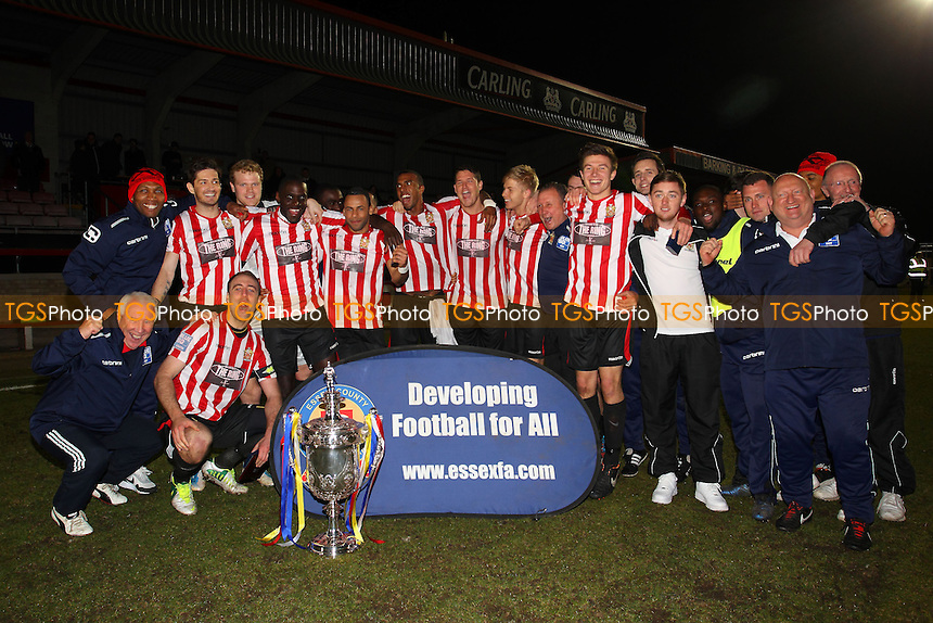 AFC Hornchurch celebrate with the Cup - AFC Hornchurch vs Grays Athletic - Essex FA Senior Cup Final at Dagenham & Redbridge FC - 15/04/13 - MANDATORY CREDIT: Gavin Ellis/TGSPHOTO - Self billing applies where appropriate - 0845 094 6026 - contact@tgsphoto.co.uk - NO UNPAID USE.