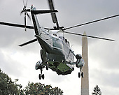 Marine 1, with United States President Barack Obama aboard, departs the South Lawn of the White House in Washington, D.C. on Friday, October 14, 2011.  The President, accompanied by South Korean President Lee Myung-bak, will tour the General Motors Orion Assembly plant in Detroit, Michigan..Credit: Ron Sachs / CNP