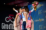 Richard Carapaz (ECU) Movistar Team retains the young riders Maglia Bianca on the podium at the end of Stage 7 of the 2018 Giro d'Italia, a flat stage running 159km from Pizzo to Praia a Mare, Italy. 11th May 2018.<br /> Picture: LaPresse/Marco Alpozzi | Cyclefile<br /> <br /> <br /> All photos usage must carry mandatory copyright credit (&copy; Cyclefile | LaPresse/Marco Alpozzi)