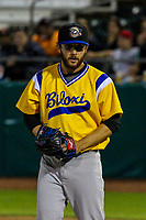 Biloxi Shuckers pitcher Bubba Derby (19) during a Southern League game against the Tennessee Smokies on May 25, 2017 at Smokies Stadium in Kodak, Tennessee.  Tennessee defeated Biloxi 10-4. (Brad Krause/Krause Sports Photography)