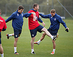 Andy Little, Kevin Kyle and Dean Shiels doing the hokey cokey