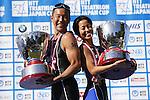 (L-R) Hirokatsu Tayama, Ai Ueda, OCTOBER 13, 2013 - Triathlon : 19th Annual Triathlon National Championships Tokyo Port in Odaiba, Tokyo, Japan. (Photo by AFLO SPORT) [0006]