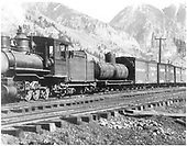 3/4 view of RGS freight train pulled by an unidentified engine with COLX tank car #7 and D&amp;RG short reefer #35 at Telluride.<br /> RGS  Telluride, CO  ca. 1913