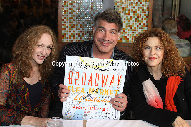 "Jan Maxwell (Guiding Light's ""Cindy"") - Bryan Batt (Guiding Light and As The World Turns & Bernadette Peters at the 27th Annual Broadway Flea Market & Grand Auction to benefit Broadway Cares/Equity Fights Aids in Shubert Alley, New York City, New York.  (Photo by Sue Coflin/Max Photos)"