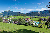 Austria, Vorarlberg, Schwarzenberg: village centre with parish church and open air pool | Oesterreich, Vorarlberg, Schwarzenberg: Ortskern mit Pfarrkirche und Freibad