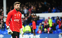Lincoln City's Josh Vickers during the pre-match warm-up<br /> <br /> Photographer Andrew Vaughan/CameraSport<br /> <br /> Emirates FA Cup Third Round - Everton v Lincoln City - Saturday 5th January 2019 - Goodison Park - Liverpool<br />  <br /> World Copyright &copy; 2019 CameraSport. All rights reserved. 43 Linden Ave. Countesthorpe. Leicester. England. LE8 5PG - Tel: +44 (0) 116 277 4147 - admin@camerasport.com - www.camerasport.com