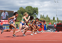 Start of the women's 100m during the IAAF Diamond League Athletics Müller Grand Prix Birmingham at Alexander Stadium, Walsall Road, Birmingham on 18 August 2019. Photo by Alan  Stanford.