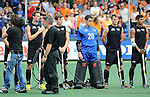 The Hague, Netherlands, June 03: Team of New Zealand line up prior to the match during the national anthem during the field hockey group match (Men - Group B) between South Africa and the Black Sticks of New Zealand on June 3, 2014 during the World Cup 2014 at GreenFields Stadium in The Hague, Netherlands. Final score 0:5 (0:3) (Photo by Dirk Markgraf / www.265-images.com) *** Local caption *** Alex Shaw #19 of New Zealand, Nick Haig #4 of New Zealand, Devon Manchester #20 of New Zealand, Steven Edwards #31 of New Zealand, Arun Panchia #24 of New Zealand