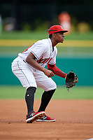 Indianapolis Indians third baseman Ke'Bryan Hayes (24) during an International League game against the Syracuse Mets on July 17, 2019 at Victory Field in Indianapolis, Indiana.  Syracuse defeated Indianapolis 15-5  (Mike Janes/Four Seam Images)