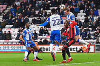 Dan Burn of Wigan Athletic wins a header from Benik Afobe of AFC Bournemouth during AFC Bournemouth vs Wigan Athletic, Emirates FA Cup Football at the Vitality Stadium on 6th January 2018