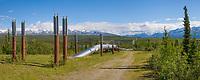 Panorama of the Trans Alaska oil pipeline traversing the tundra south of Delta Junction, Alaska.