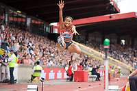 Jazmin Sawyers of Great Britain competing in the long jump during the Muller Grand Prix  IAAF Diamond League meeting at Alexander Stadium, Perry Barr, Birmingham.<br /> Picture by Alan Stanford +44 7915 056117<br /> 18/08/2018