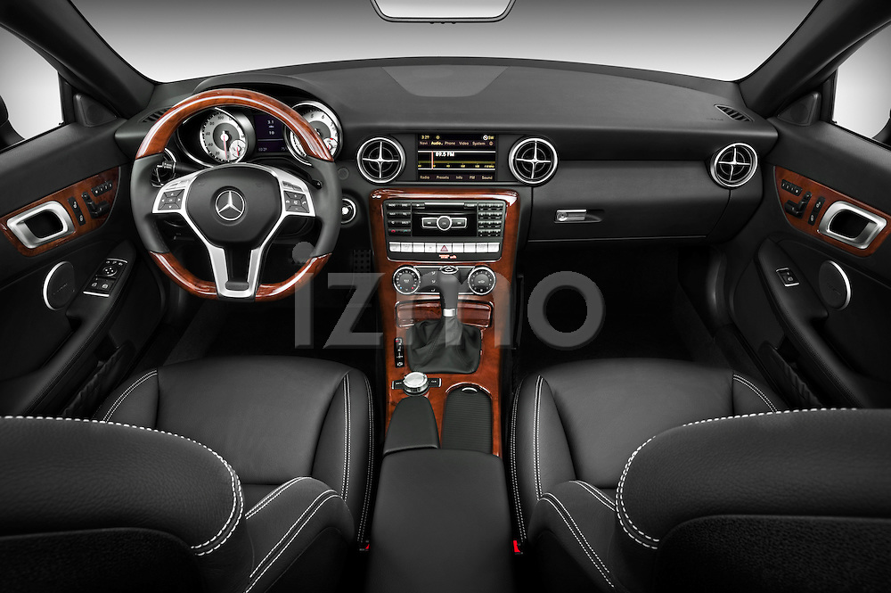Straight dashboard view of a 2013 Mercedes SLK Class .