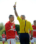 Eoin Hayes of Newmarket Celtic A is yellow carded by referee Trevor White their Clare Cup Final win over over Bridge United A at Frank Healy Park. Photograph by John Kelly.