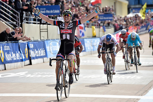 12.04.2015. Paris, France.  The Paris Roubaix cycling race, 2015.  John Degenkolb (Team Giant - Alpecin) crosses the finish line as winner