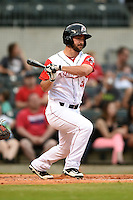 Arkansas Travelers outfielder Drew Heid (4) at bat during a game against the San Antonio Missions on May 24, 2014 at Dickey-Stephens Park in Little Rock, Arkansas.  Arkansas defeated San Antonio 4-2.  (Mike Janes/Four Seam Images)