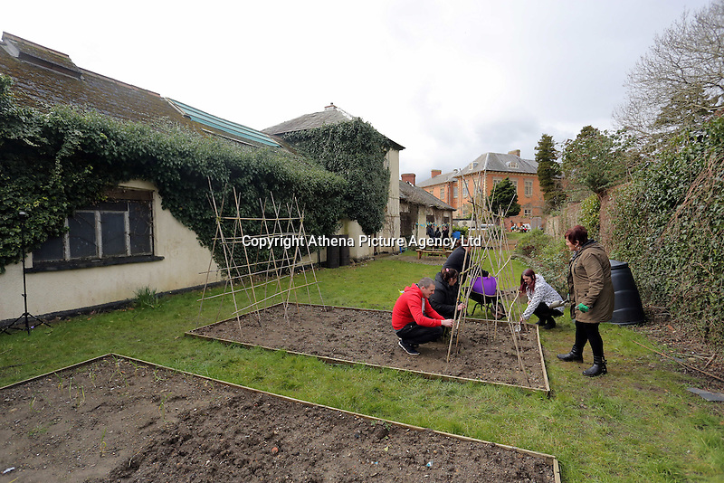 Pictured: Users of the project doing gardening Friday 04 March 2016<br /> Re:  Oxfam community project, Duffryn Community Link <br /> located at Tredegar House near Newport, south Wales, UK. The project involves gardening with people in poverty.