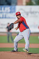 Orem Owlz starting pitcher Andres Heredia (37) delivers a pitch to the plate against the Ogden Raptors in Pioneer League action at Lindquist Field on June 27, 2017 in Ogden, Utah. Ogden defeated Orem 14-5. (Stephen Smith/Four Seam Images)