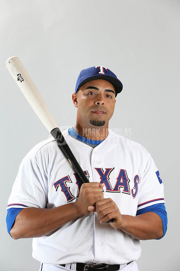 Feb. 20, 2013; Surprise, AZ, USA: Texas Rangers outfielder Nelson Cruz poses for a portrait during photo day at Surprise Stadium. Mandatory Credit: Mark J. Rebilas-