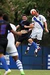 30 August 2015: Duke's Jared Rist (8) heads the ball over DePaul's Philipp Koenigstein (GER) (20). The Duke University Blue Devils hosted the DePaul University Blue Demons at Koskinen Stadium in Durham, NC in a 2015 NCAA Division I Men's Soccer match.
