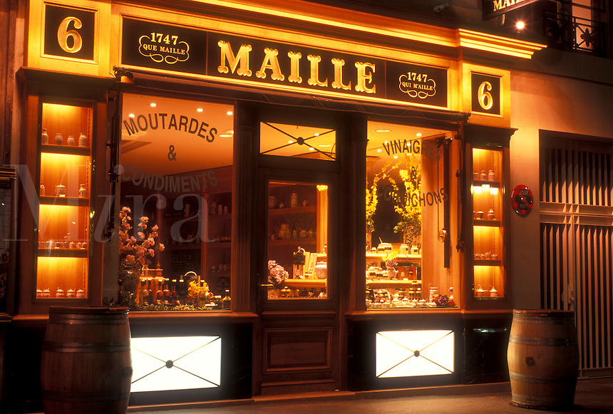 AJ0768, Paris, France, Europe, Maille, a specialty shop at [night, evening] in Paris.