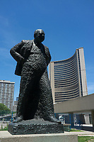 Toronto,  CANADA - File Photo - Downtown Toronto - Winston Churchill statue near City Hall<br /> <br /> Photo :  Agence Quebec Presse - Pierre Roussel
