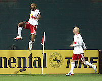 Tierry Henry (14) of the New York Red Bulls celebrates his first goal during an MLS match against D.C. United at RFK Stadium, in Washington D.C. on April 21 2011. Red Bulls won 4-0.