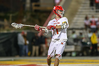 College Park, MD - April 27, 2019: Maryland Terrapins attack Jared Bernhardt (1) passes the ball during the game between John Hopkins and Maryland at  Capital One Field at Maryland Stadium in College Park, MD.  (Photo by Elliott Brown/Media Images International)