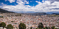 City of Quito with the Historic Centre of Quito Old Town in the foreground, seen from El Panecillo Hill, Ecuador, South America