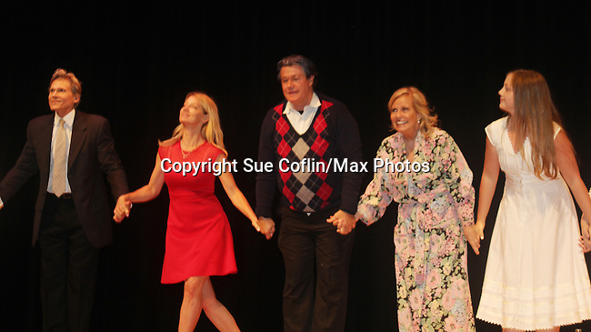 """Curtain Call: Grant Aleksander - Cynthia Watros - Michael O'Leary - Tina Sloan - Emma Gilliland (daughter of Cynthia Watros) - Guiding Light's Michael O'Leary author of """"Breathing Under Dirt"""" - full play - had its world premier on August 13 and 14, 2016 at the Ella Fitzgerald Performing Arts Center, University of Maryland Eastern Shore, Princess Anne, Maryland  (Photo by Sue Coflin/Max Photos)"""